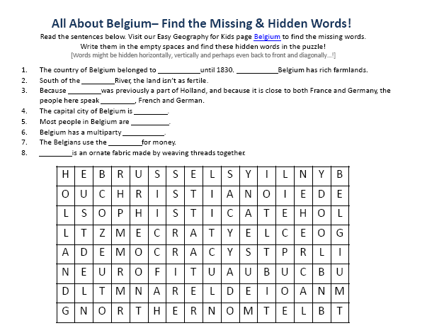 Image of Belgium Worksheet - Free Downloadable Worksheets For Kids ...