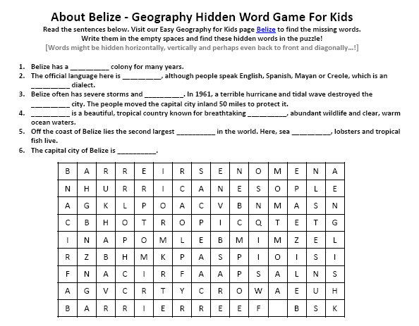 Belize Worksheet - FREE Hidden Words Puzzles Games - Geography for ...