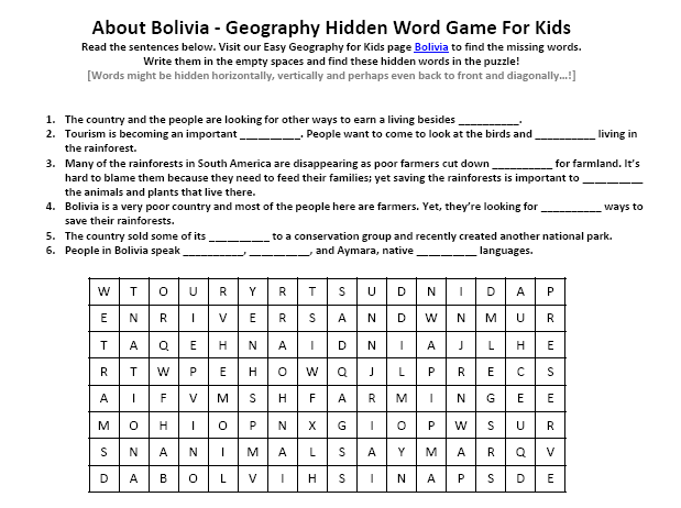Image of Bolivia Worksheet Free Printable Geography Hidden Word – Hidden Picture Worksheet