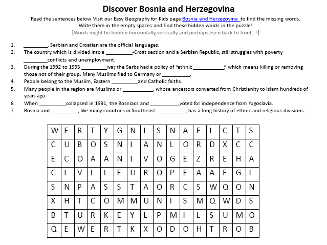 Download our FREE Bosnia and Herzegovina Worksheet for Kids!