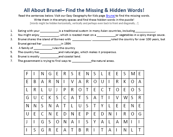 Image of Brunei Worksheet - Free Printable Geography Worksheet for ...