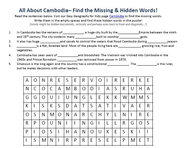 Download our FREE Cambodia Worksheet for Kids!