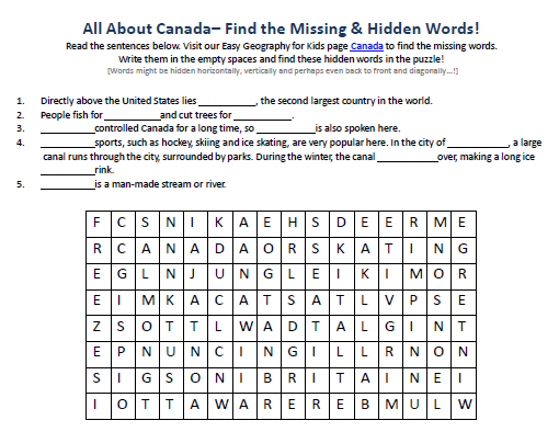 Canada Worksheet FREE Hidden Words Puzzles Earth Science for – Canada Worksheets