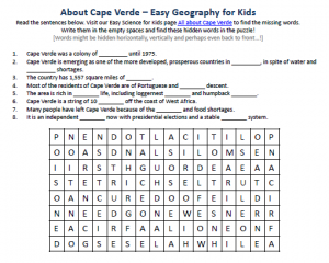 Download our FREE Cape Verde Worksheet for Kids!