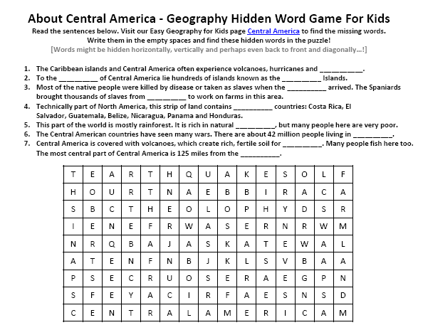 Image of Central America Worksheet - Free Geography Worksheets to ...