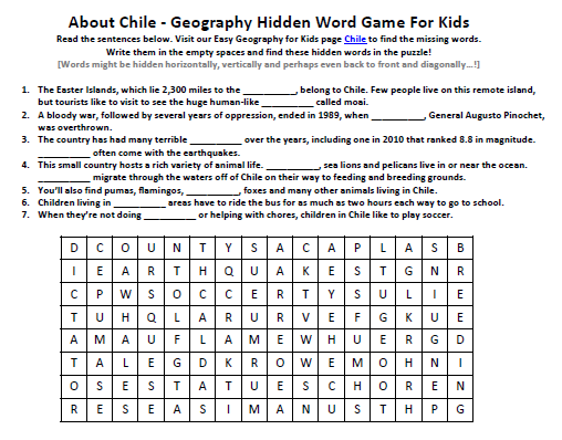 Image of Chile Worksheet - Fun Geography Worksheets for Kids ...