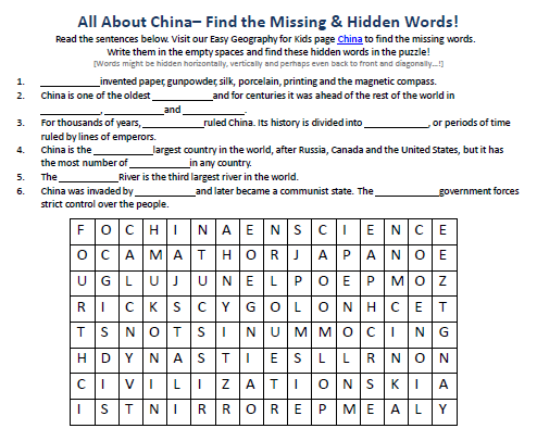 Image of China Worksheet - Free Geography Hidden Words Game - Easy ...