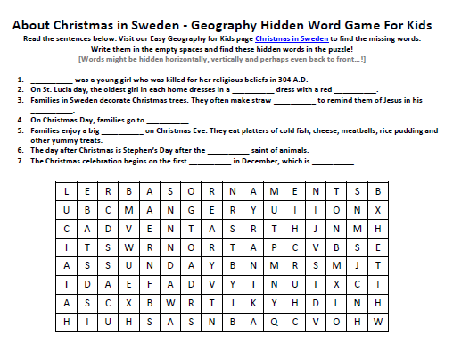 Christmas in Sweden Worksheet - FREE Kids Science Word Search Games -