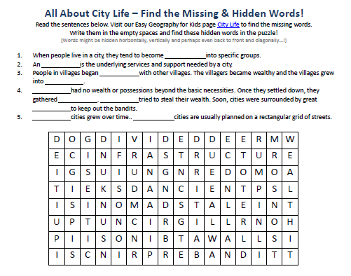 Image Of City Life Worksheet FREE Science Hidden Word Puzzles