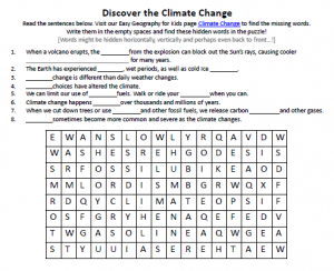 climate change worksheet free printable seek and find word puzzles. Black Bedroom Furniture Sets. Home Design Ideas