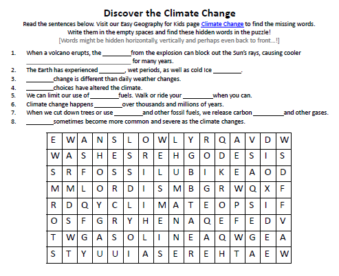 image of climate change worksheet printable activity sheet for kids easy science for kids. Black Bedroom Furniture Sets. Home Design Ideas