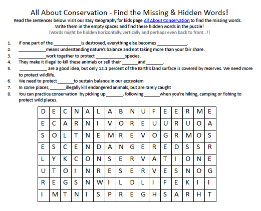 Download our FREE Conservation Worksheet for Kids!