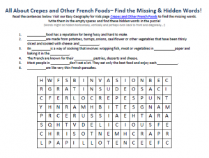 Download our FREE Crepes and Other French Foods Worksheet for Kids!