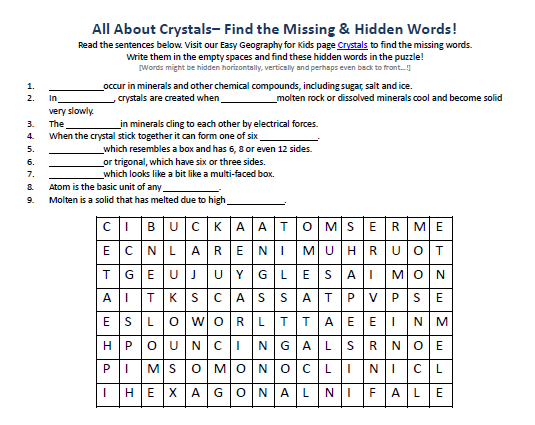Crystals Worksheet Earth Science Word Searches for School Kids – Science Printable Worksheets