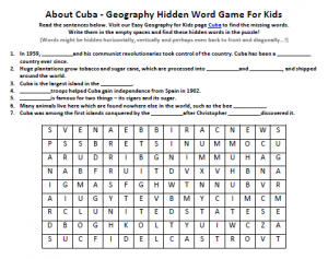 Download our FREE Cuba Worksheet for Kids!