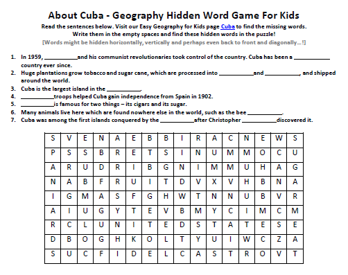 image of cuba worksheet free geography activity sheet for kids easy science for kids. Black Bedroom Furniture Sets. Home Design Ideas