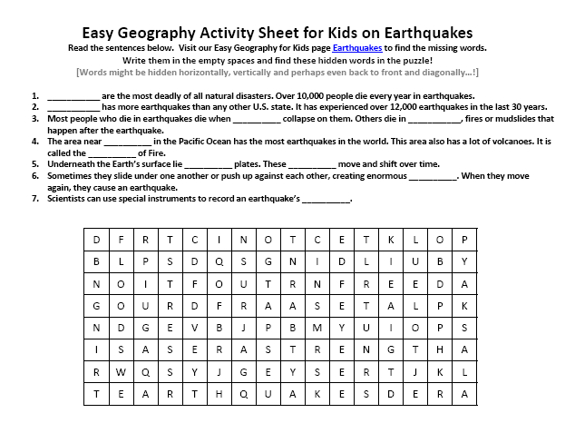 Worksheets Earthquakes For Kids Worksheets image of earthquakes worksheet geography find the hidden words puzzle for printer