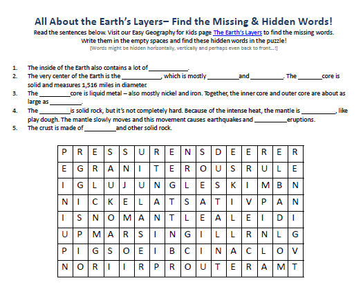 Printables Earth Layers Worksheet image of earths layers worksheet free word searches for school kids