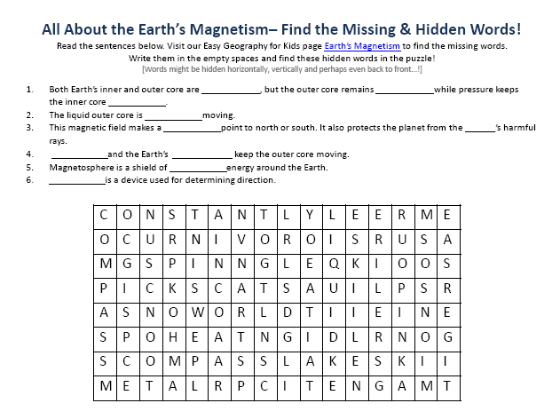 image of earths magnetism worksheet downloadable free to use geography word search games. Black Bedroom Furniture Sets. Home Design Ideas