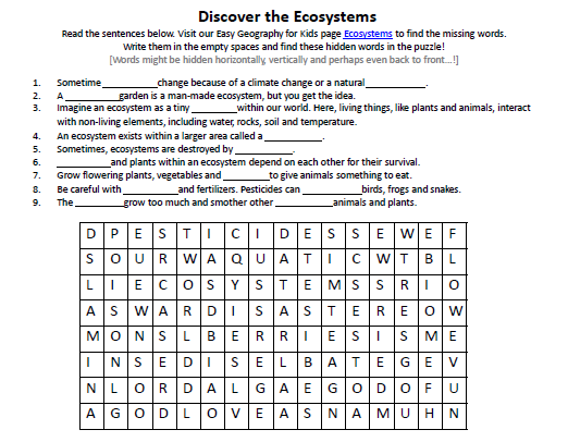 Ecosystems Worksheet FREE Printable Earth Science Worksheets – Free Science Worksheets