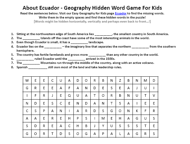 Image Of Ecuador Worksheet Download Free Earth Science Hidden Words Puzzle