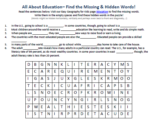 Image of Education Worksheet - FREE Online Word Search Games - Easy ...