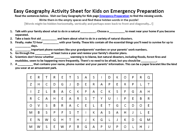 Emergency Preparation Worksheet FREE Online Printable Word Seek – Worksheet for Kids