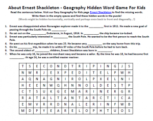 Download our FREE Ernest Shackleton Worksheet for Kids!