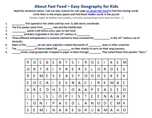 Download our FREE Fast Food Worksheet for Kids!