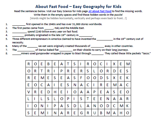 image of fast food worksheet best free science activities worksheet for kids - Activity Worksheets For Kids