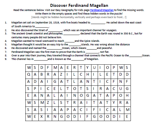 Download our FREE Ferdinand Magellan Worksheet for Kids!