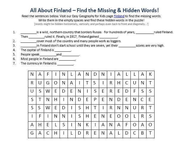 Image Of Finland Worksheet Free Printable Geography For Kids Find The Words Puzzle