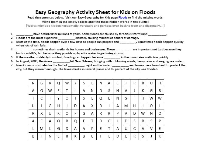 Download our FREE Floods Worksheet for Kids!