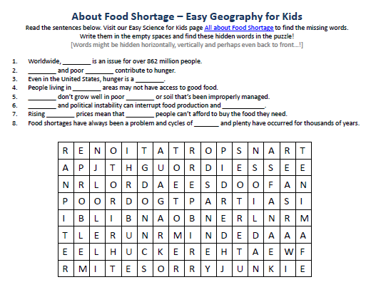 image of food shortage worksheet free printables for earth science for kids easy science for. Black Bedroom Furniture Sets. Home Design Ideas