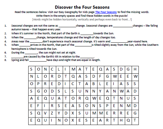 Four Seasons Worksheet FREE Find the Hidden Words Puzzle Earth – Season Worksheets