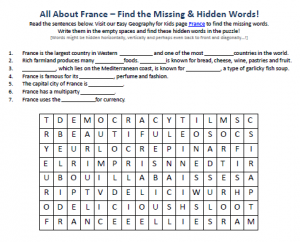 Download our FREE France Worksheet for Kids!