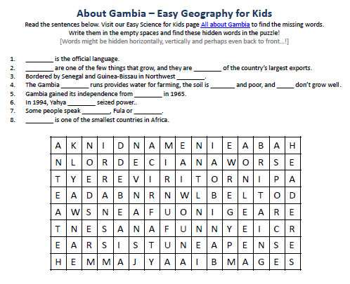 Gambia Worksheet - FREE Online Printable Word Search Game on Gambia -