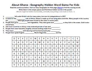 Download our FREE Ghana Worksheet for Kids!