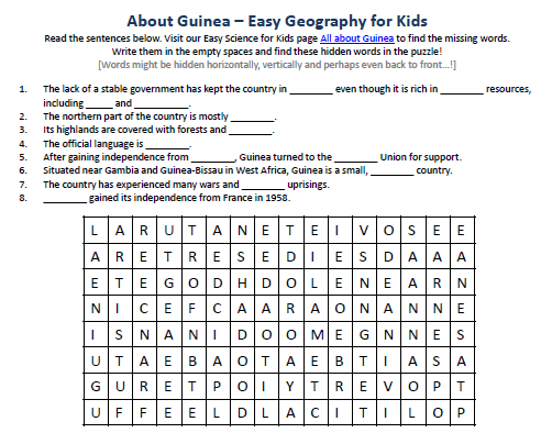 Download our FREE Guinea Worksheet for Kids!
