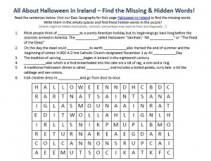 Download our FREE Halloween in Ireland Worksheet for Kids!