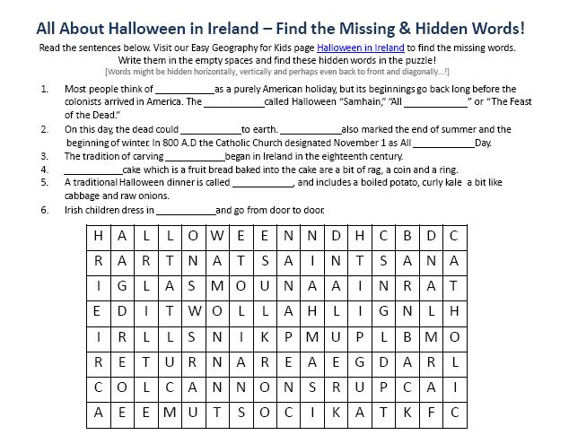 Image of Halloween in Ireland Worksheet Free Printable Geography – Free Printable Geography Worksheets
