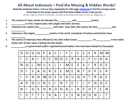 Indonesia Worksheet - FREE Printable Geography Worksheets -