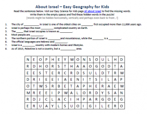 Download our FREE Israel Worksheet for Kids!