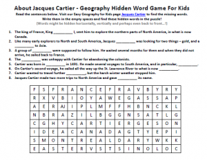 Download our FREE Jacques Cartier Worksheet for Kids!