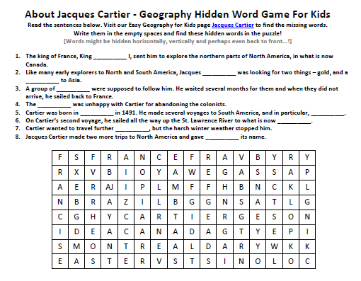 image of jacques cartier worksheet free printable earth science hidden words game easy. Black Bedroom Furniture Sets. Home Design Ideas