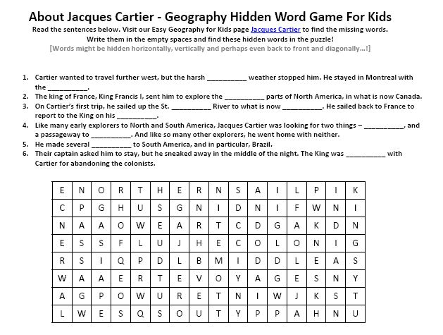 Of Jacques Cartier Worksheet Free Printable Geography For. Of Jacques Cartier Worksheet Free Printable Geography For Kids Find The Words Puzzle. Printable. Printable Find A Words At Clickcart.co