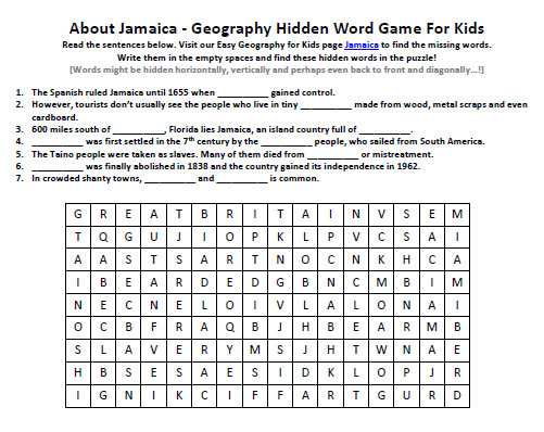 Jamaica Worksheet - Printable Word Search Games for Kids for FREE -