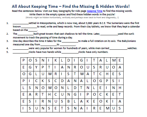 Keeping Time Worksheet Free Hidden Words Puzzles Games Earth. Download Our Free Keeping Time Worksheet For Kids. Worksheet. Fun Worksheet On Time At Clickcart.co