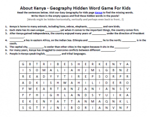 Download our FREE Kenya Worksheet for Kids!