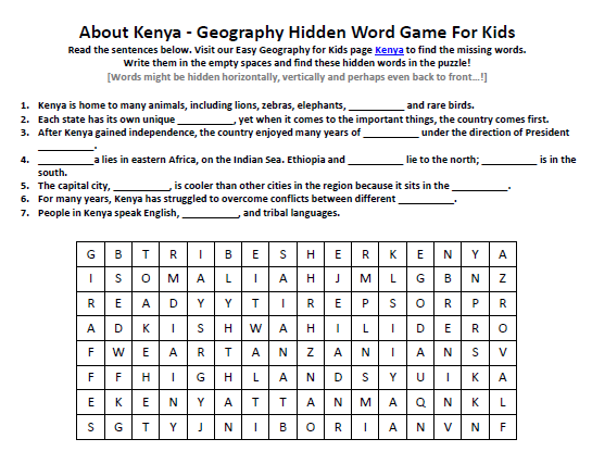Image of Kenya Worksheet - FREE Geography Words Game to Print - Easy ...